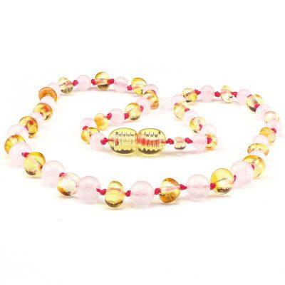 Colar de âmbar barroco limão e quartzo rosa polido - 33 cm